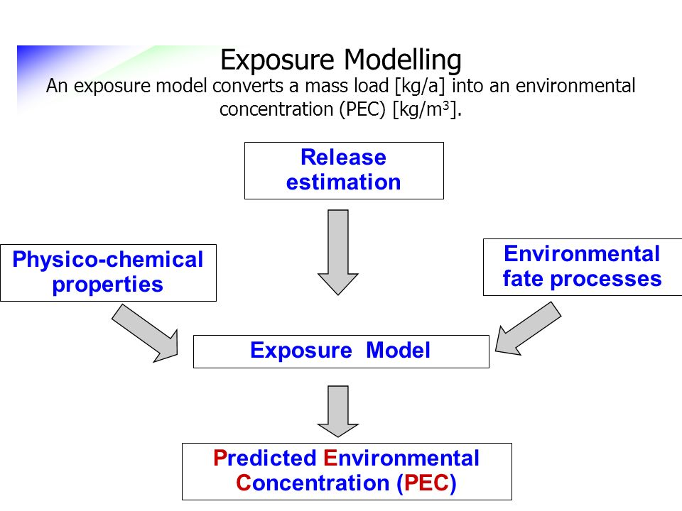 Exposure Modelling An exposure model converts a mass load [kg/a] into an environmental concentration (PEC) [kg/m3].
